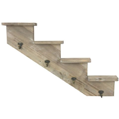 Wooden Stepped Wall or Understairs Shelf & Coat Hooks Left Rise